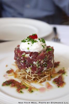Tuna Tartare, potato kataifi, tarama espuma, and pickled shallot vinaigrette at NERAI