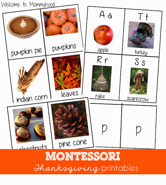 Thanksgiving Activities: Montessori 3 part cards {Welcome to Mommyhood} #montessori, #thanksgivingactivities