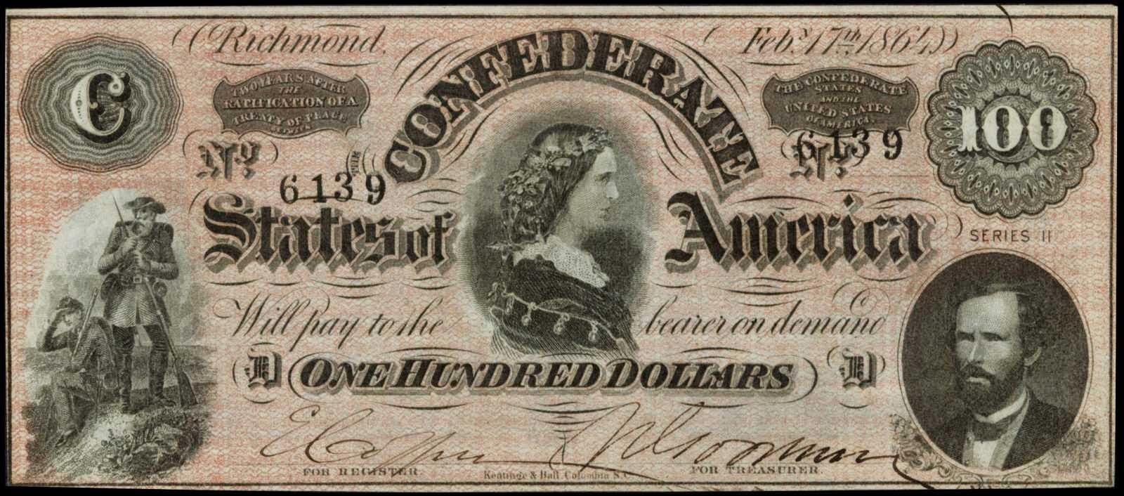 Confederate Currency 100 Dollar Bill 1864 Lucy Pickens