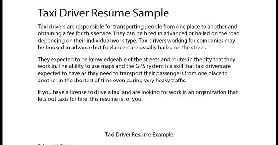 Great Sample Resume Taxi Driver Resume Sample - cab driver resume