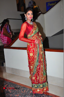 Model Sharon Fernandes Stills in Red Saree at Trendz Exhibition Launch  0054.JPG