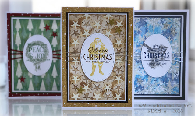 Christmas Card with Tim Holtz Layering Stencils, Layering Shifter Stencils and Festive Overlays stamp set.