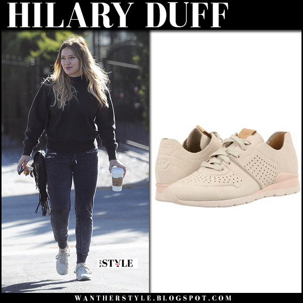 Hilary Duff in black outfit with beige leather sneakers ugg tye street style october 21 2017
