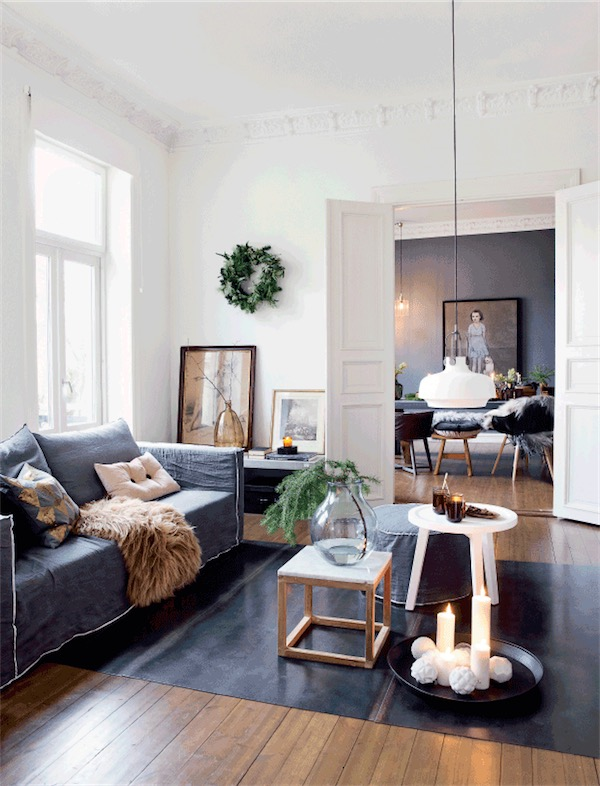 salon escandinavo decorado de Navidad chicanddeco
