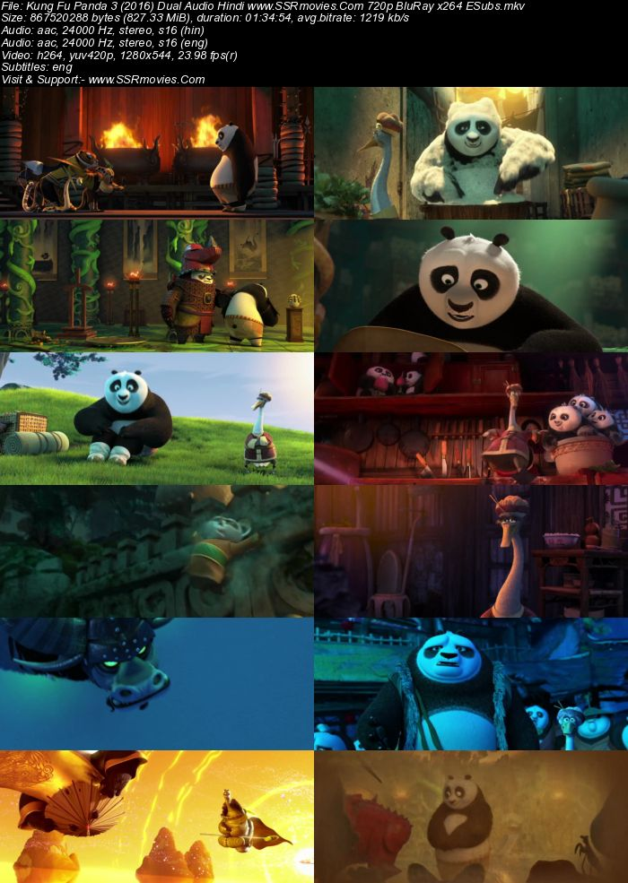 Kung Fu Panda 3 (2016) Dual Audio Hindi 480p BluRay x264 300MB ESubs Movie Download