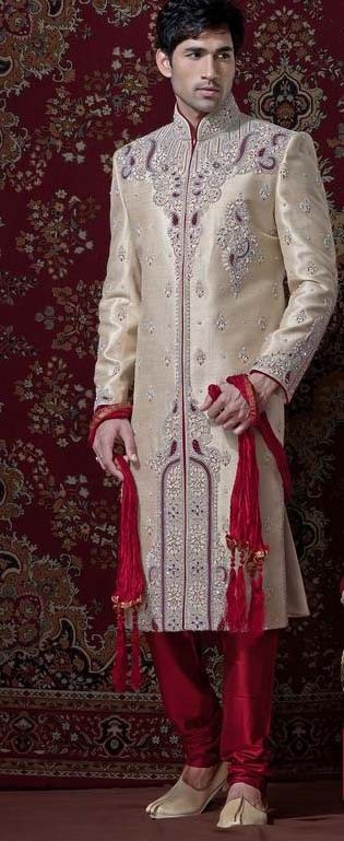 Beige & Maroon Banarsi Cotton Silk Sherwani With Churidar