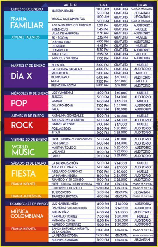 Programaciion Festival Centro 2017