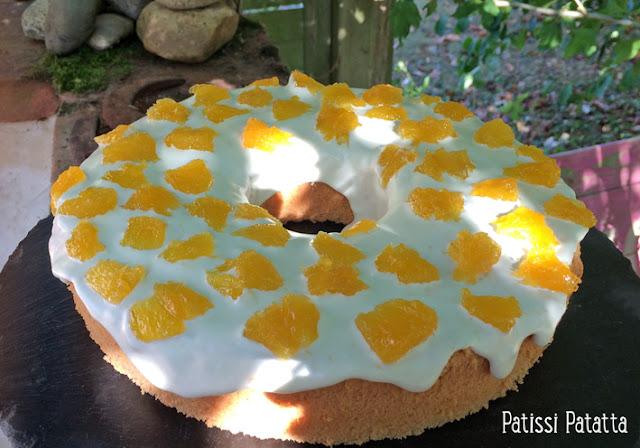 recette de chiffon cake à la fleur d'oranger, chiffon cake fleur d'oranger et orange, tutoriel pour faire un chiffon cake, vidéo chiffon cake, vidéo chiffon cake fleur d'oranger, gâteau chiffon cake, recette de chiffon cake en français, orange chiffon cake, glaçage à l'orange, suprêmes d'oranges confits, patissi-patatta