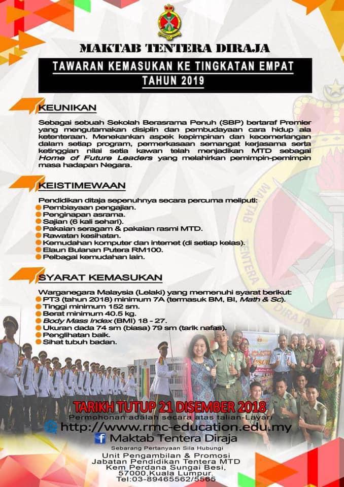 Tingkatan 4 Sekolah Berasrama Penuh (SBP) Maktab Tentera Diraja 2019