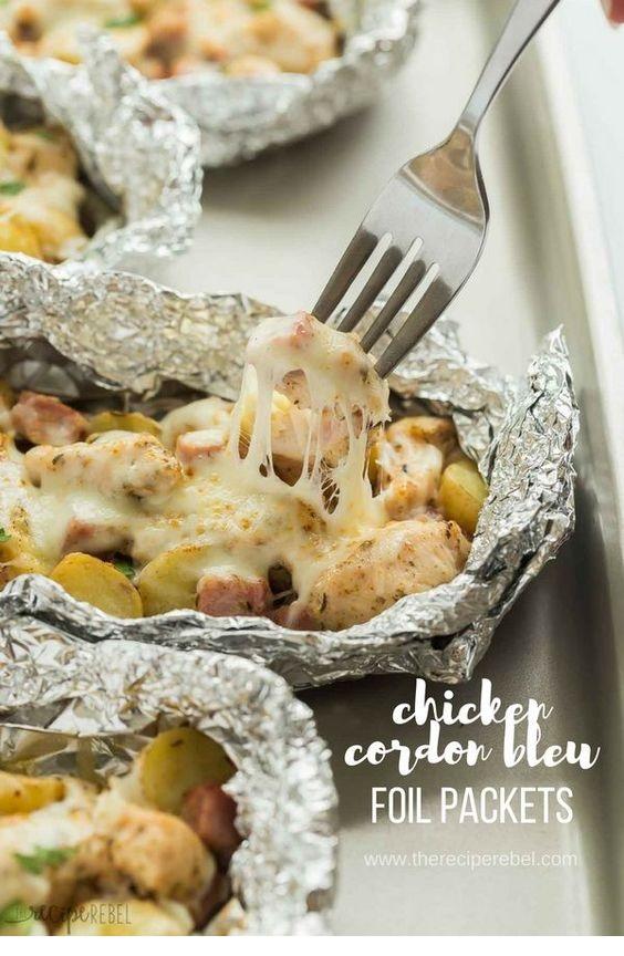 Chicken Cordon Bleu Foil Packets