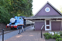 Thomas the Tank Engine makes a stop at the Snoqualmie Falls Depot.