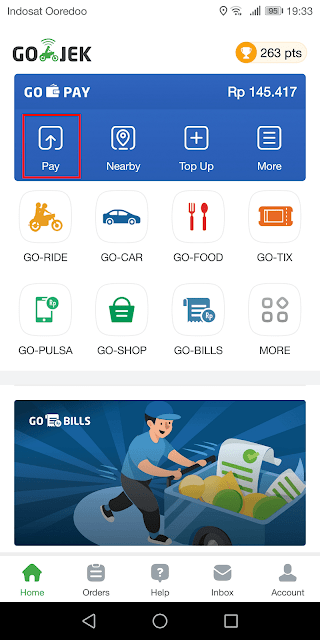 klik tombol pay untuk melakukan pembayaran atau transfer saldo
