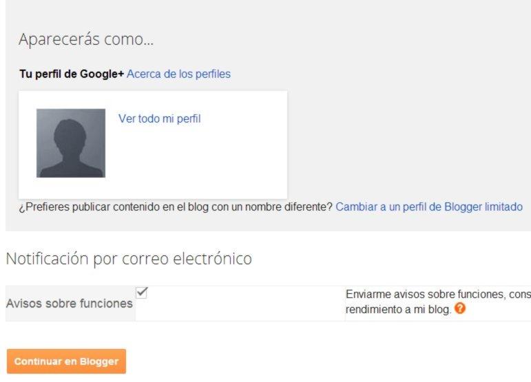 definir perfil de google + o blogger