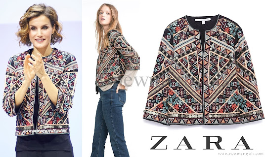 Queen Letizia wore style ZARA Embroidered Jacket