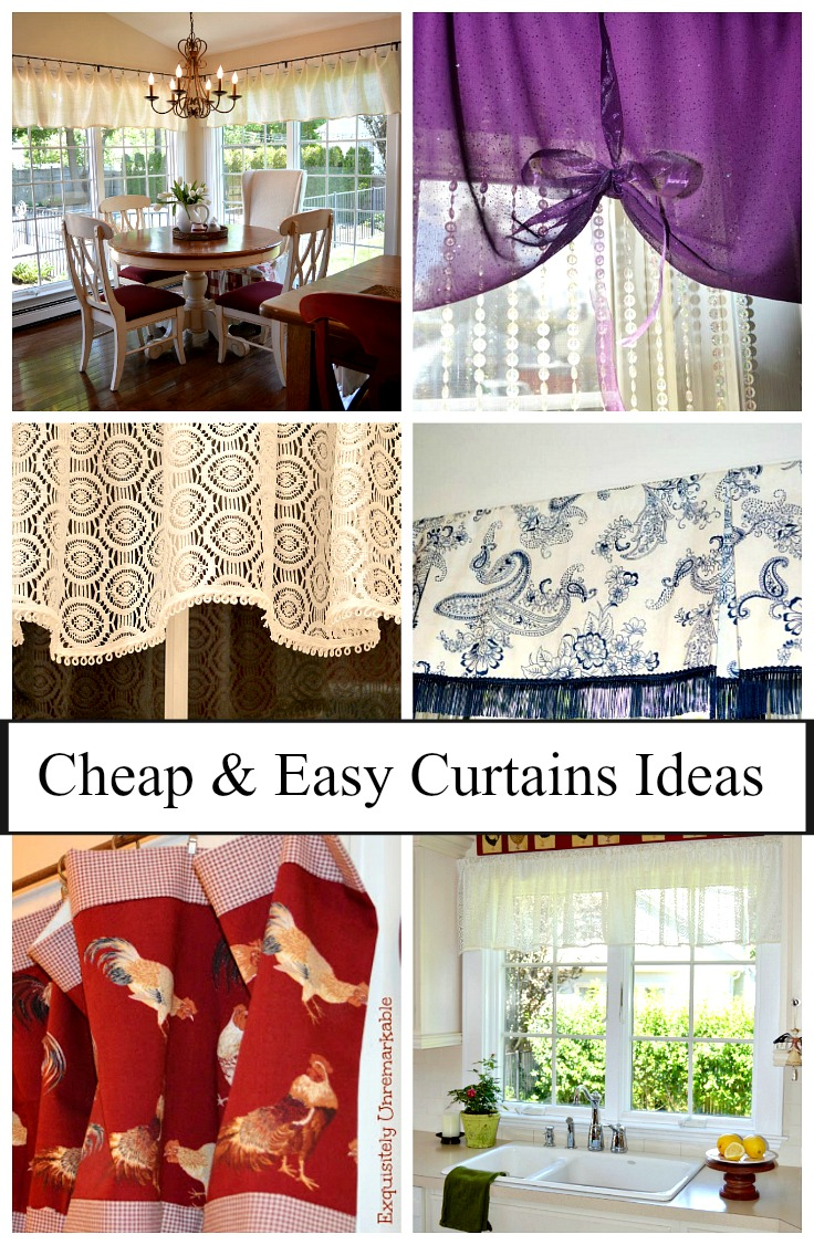 Cheap and Easy Curtain Ideas Text over montage of curtains