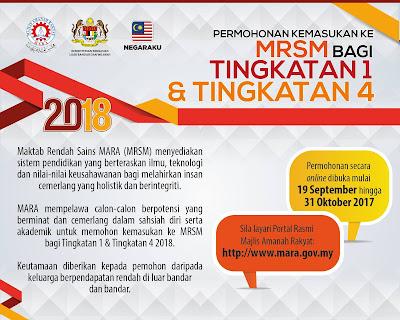 Panduan Permohonan Ke MRSM Tingkatan 1 & 4 Tahunl 2018
