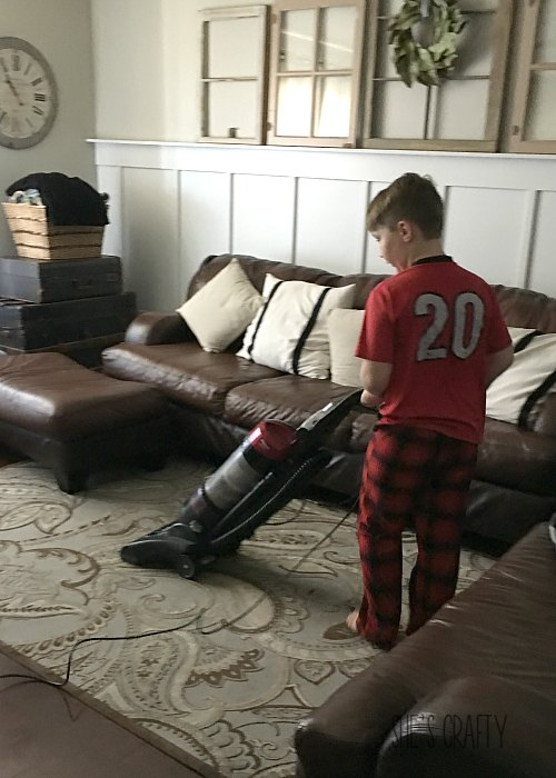 kids doing chores, kids vacuuming, 9 year old vacuuming