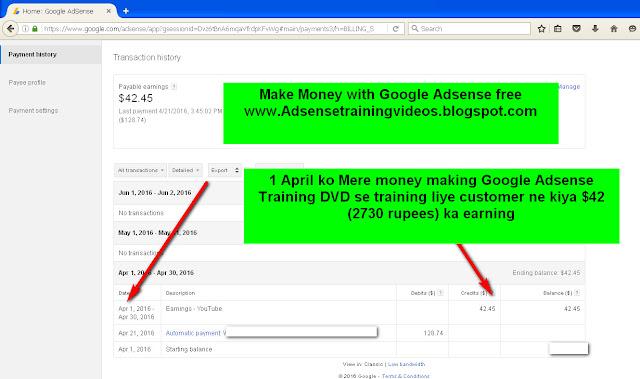 1 April 2016 ko Google Adsense publisher ne kiya 2730 rupees ka earning-see screenshot