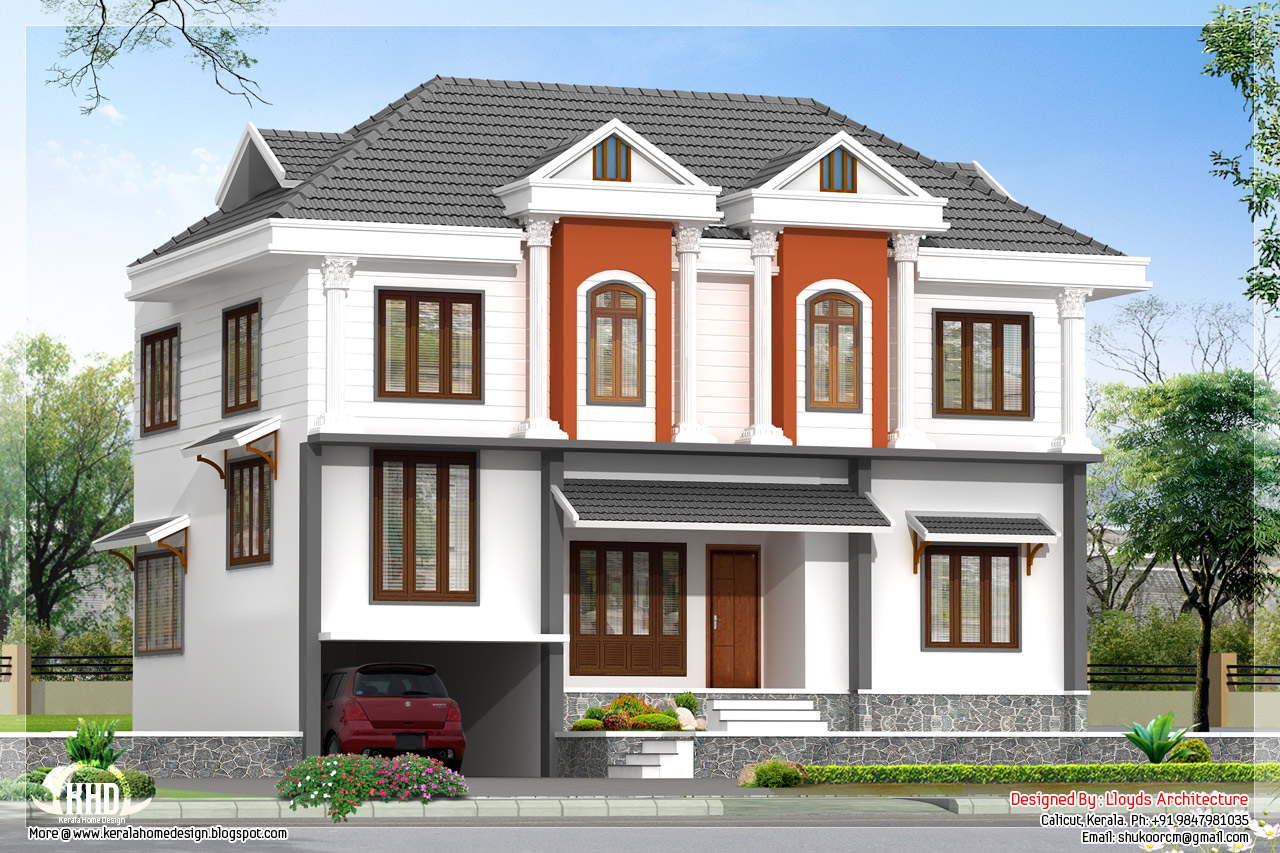 2172 sq feet villa 3d view and floor plan kerala home for House elevation for three floors building