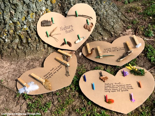 Nature Hunt Cardboard Hearts - Forest School