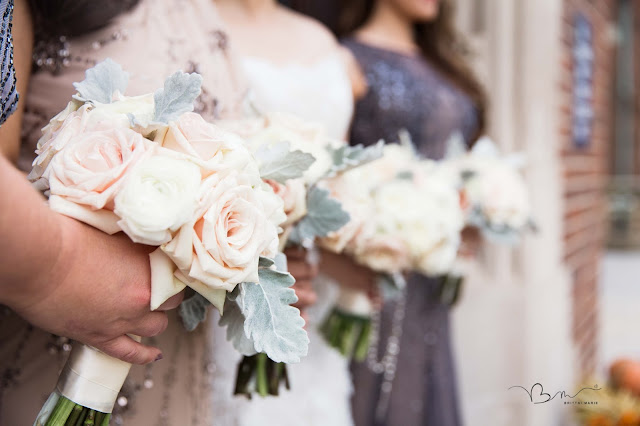 bridesmaids at Grosse Point Academy with bouquets