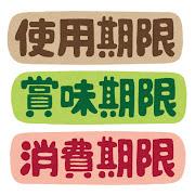 「使用期限」「賞味期限」「消費期限」のイラスト文字