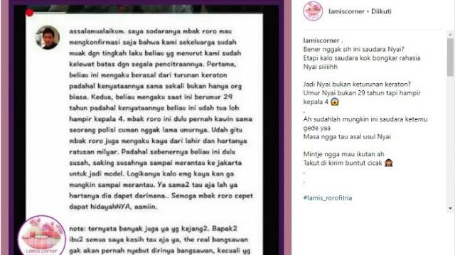 Netizen yang mengaku saudara Roro Fitria. (@LAMISCORNER)