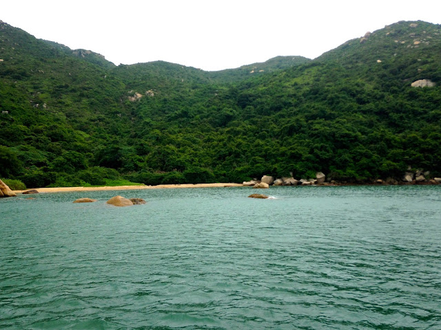 Secluded beach, as seen from the junk boat | Lamma Island, Hong Kong