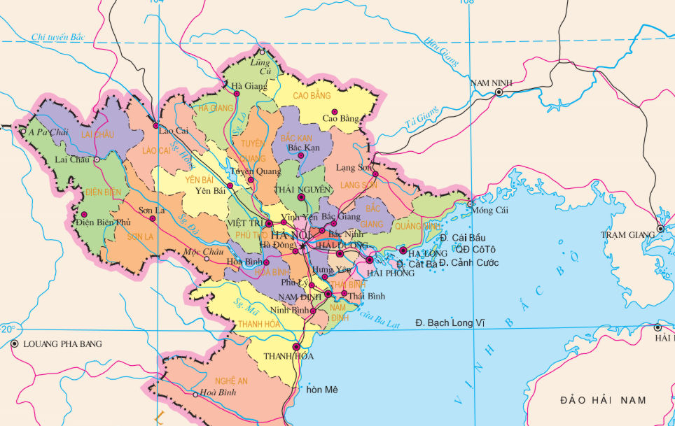 Northern Vietnam Map.Provinces Of Vietnam