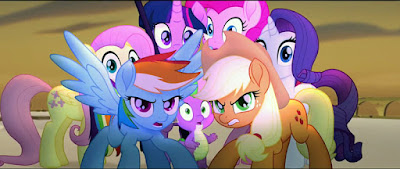 The Mane Six looking angry, with a startled Spike