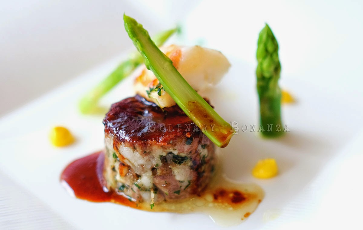 Headcheese with prawn and asparagus