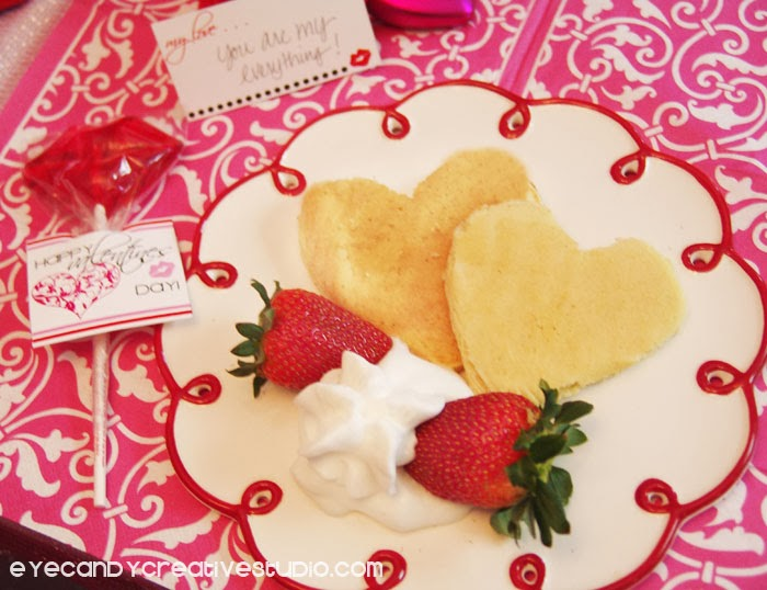 valentines breakfast, heart shaped pancakes, pink and red valentines