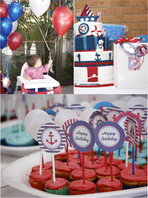 a 1st birthday nautical party party ideas party printables blog. Black Bedroom Furniture Sets. Home Design Ideas
