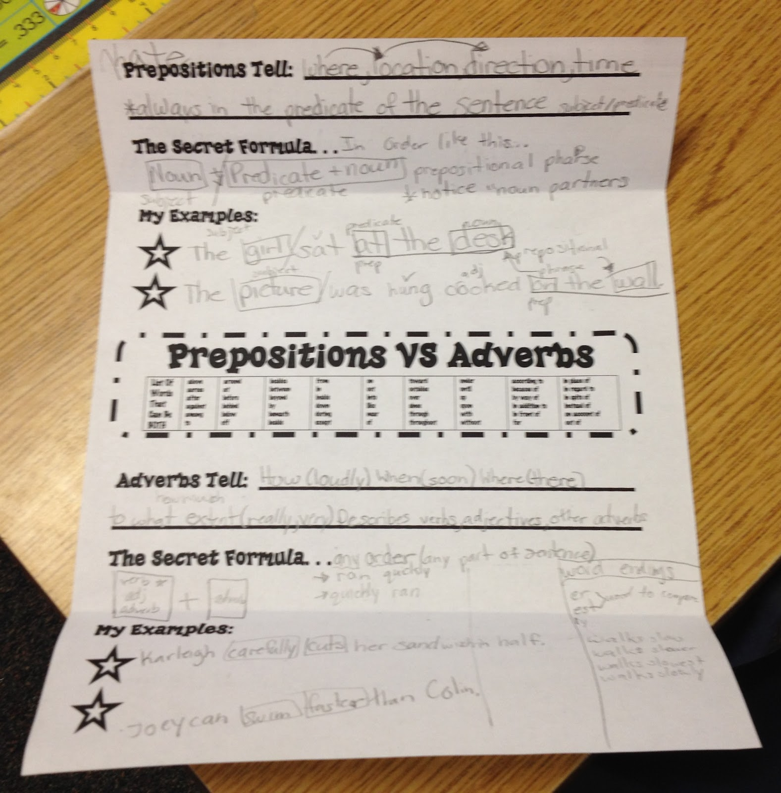 Working 4 The Classroom Preposition Vs Adverb S A