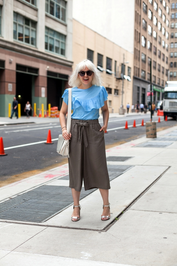 silver heels draw string high pants blue ruffle blouse silver hair womens fashion new york street style mens fashion week angel david verde the stylepreur 2016