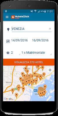 La ricerca geo-localizzata dell'app gratuita di Hotelsclick.com