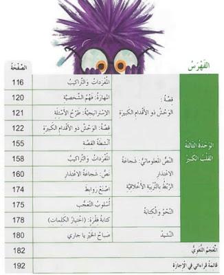 فهرس كتاب اللغة العربية للصف الثالث الابتدائي الامارات pdf 2018-2017