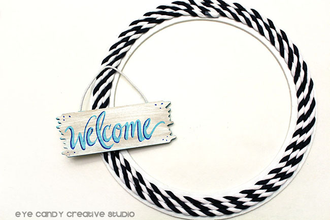 welcome sign, nautical wreath, how to make a front door wreath