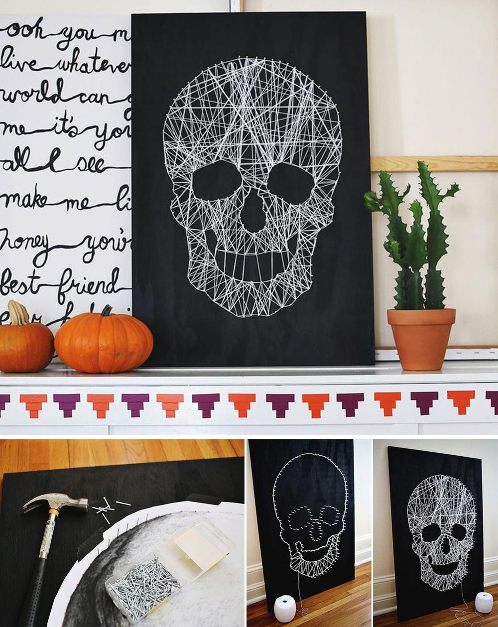 diy para decorar en halloween con cuadro escalofriante de calavera con hilo y clavos fácil y económico