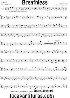 Partitura de Breathless para Viola. Partitura de The Corrs (Music Scores Breathless Viola Sheet Music)