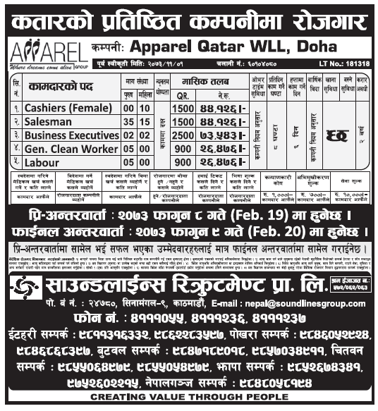 Jobs in Qatar for Nepali, Salary Rs 75,543