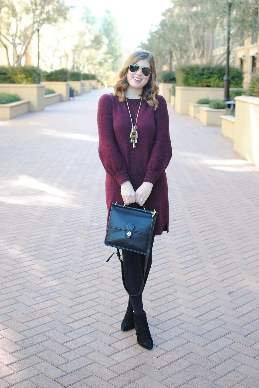 blouson-sleeved-sweater-dress