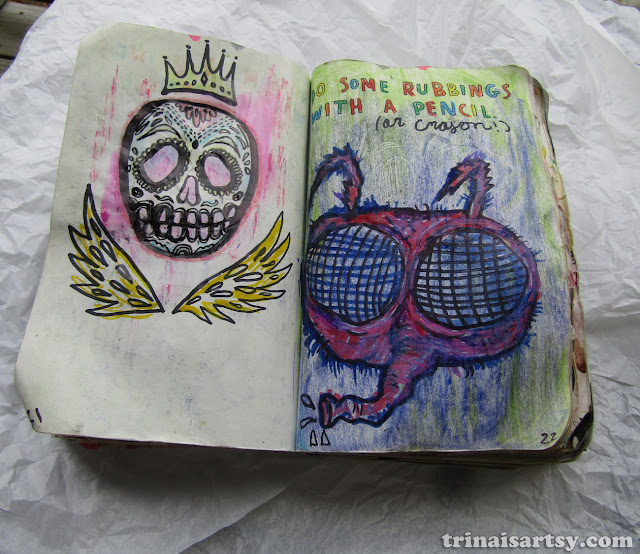 Wreck this Journal - Do rubbings with a pencil