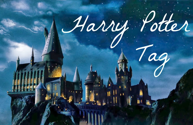 Harry Potter Tag text on Hogwarts castle image background