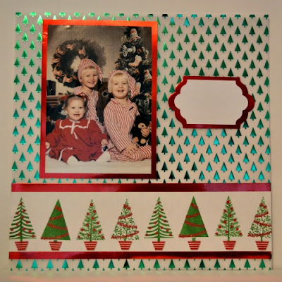 Festival of Trees, Stampin' Up!, Stamp With Trude, Foil Designer Series Paper, Christmas scrapbook page layout, Scrapbook Sunday