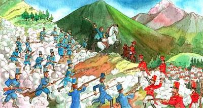 Dibujo de la Batalla de Pinchincha a colores