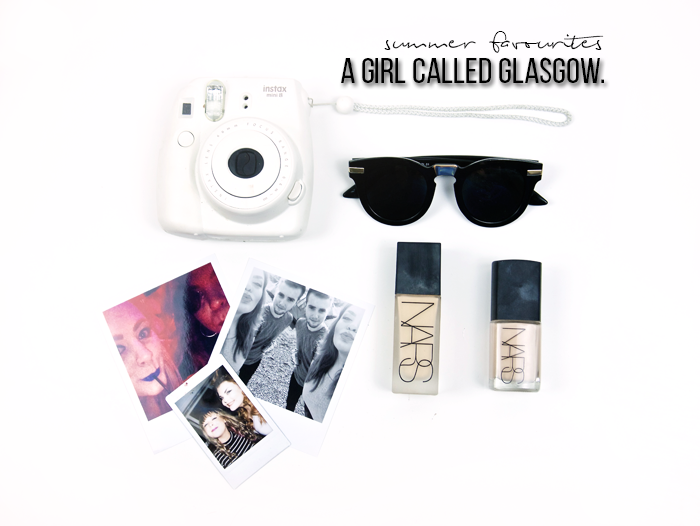 flat lay a girl called glasgow sunglasses polariod nars sheerglow