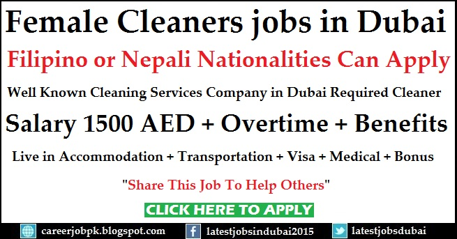 Female Cleaners jobs in Dubai for Cleaning Service Company