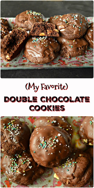 Double chocolate cookies are dense, chocolatey cookies are for all chocolate and cookie lovers. They can be customized with nuts or various flavored chips, but this cookie is hands down my most favorite chocolate, chocolate cookie! #cookies #chocolate www.thisishowicook.com