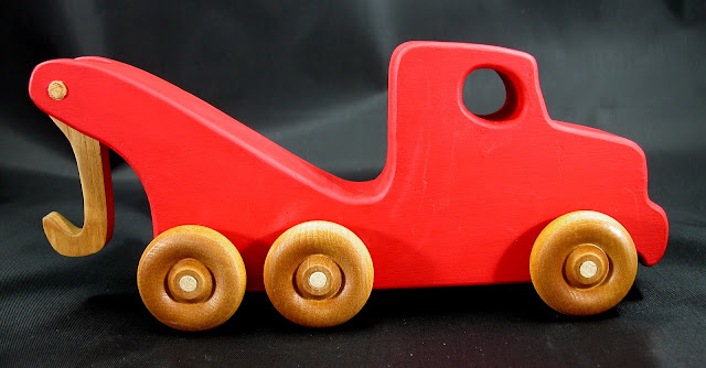 Handmade Wooden Toy Tow Truck From The Quick N Easy 5 Truck Fleet - Red Version - Right Side View